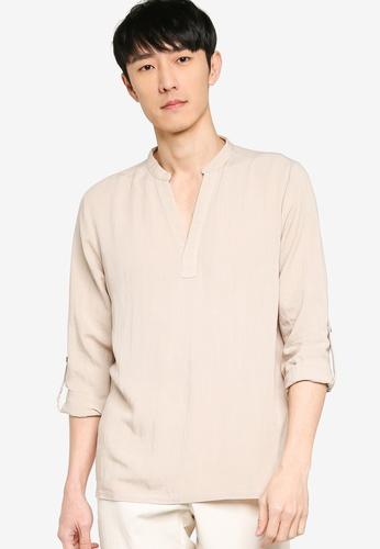 ZALORA BASICS beige V Neck Linen Blend Shirt BF70EAA24624F8GS_1