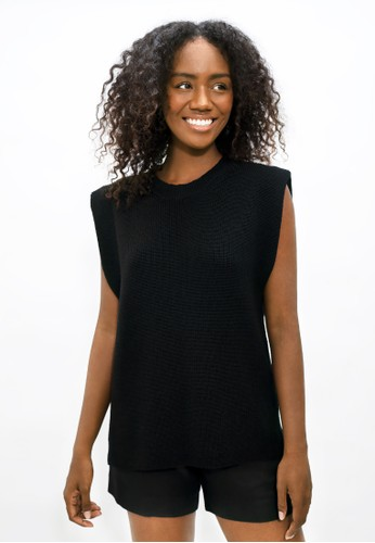 1 PEOPLE black Napoli NAP - High Neck Knitted Top - Licorice 0329BAA48FAB4EGS_1
