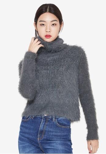 高領毛esprit香港分店絨真是短版長袖上衣, 服飾, 上衣