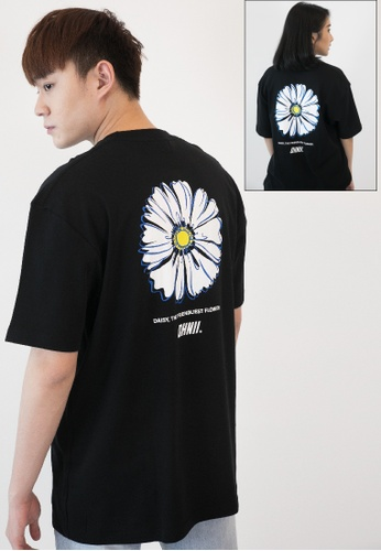 OHNII 黑色 希望雏菊徽標印花棉質寬鬆 T 恤衫 87678AA08C84EEGS_1