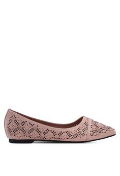 5d91ede90dd9 Mimosa pink Laser Cut Pointy Ballerina Flats 75A30SH7C838D6GS 1