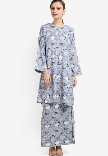Butik Sireh Pinang blue Hana Baju Kurung Pahang BU003AA21ZVMMY_1