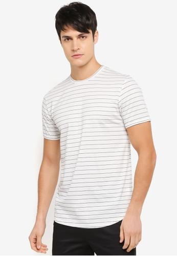 ZALORA white Curve Hem Stripe Tee with Turn Up Cuff 07C46AAF1D61F0GS_1