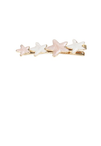 Glamorousky pink and gold Fashion Simple Plated Gold Pink Star Hair Clip E9354AC4B0DD6BGS_1