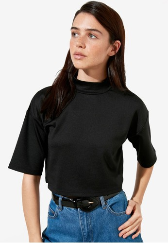 Trendyol black High Neck Oversized Crop Top 70693AABE2DEFEGS_1