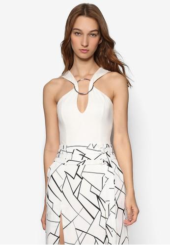 扣環zalora時尚購物網的koumi koumi削肩V 領連身衣, 服飾, 上衣