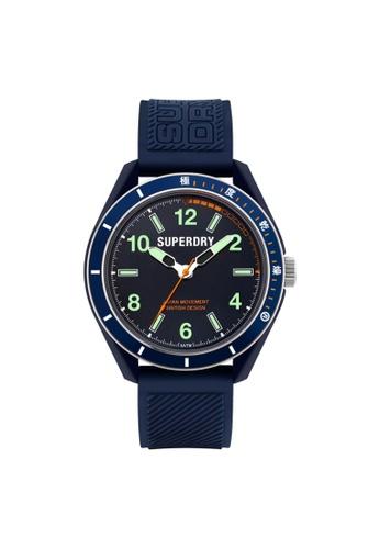 Superdry navy Superdry Osaka Dive SYG304U Navy Blue Silicone Watch 4A0F1AC906DE69GS_1