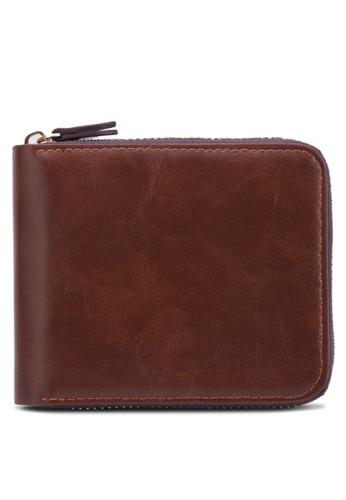 Besprit auyron 簡約拉鍊皮夾, 飾品配件, 皮革