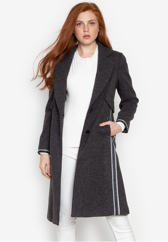 Well Suited grey Striped Side Contrast Wool Trench 0B9B0AAA7548C9GS_1