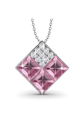 Her Jewellery pink and silver Swarovski® Crystals - Square Pendant (18K White Gold Plated) Her Jewellery HE581AC0RAEKMY_1