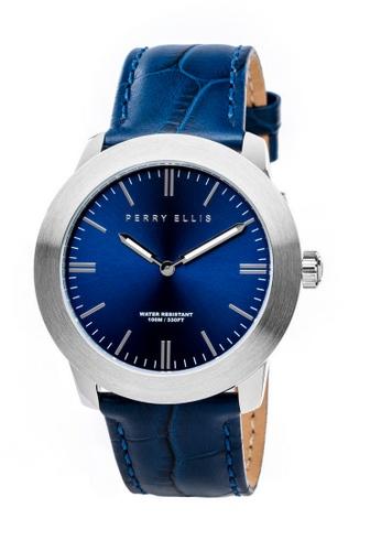 PERRY ELLIS blue Perry Ellis Slim Line Unisex 42mm Quartz Watch 07001-01 B0056AC75D0472GS_1