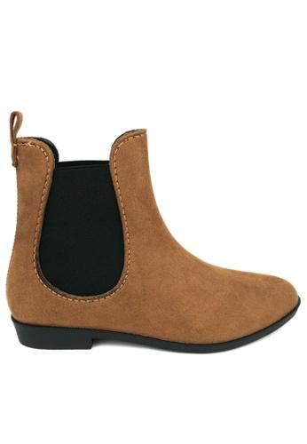 Twenty Eight Shoes brown Slim Synthetic Suede Rain Boot 903 CFB65SH0C2EF83GS_1