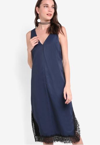 ZALORA navy Collection Lace Hem Tailored Dress EFD85AA273EAF3GS_1