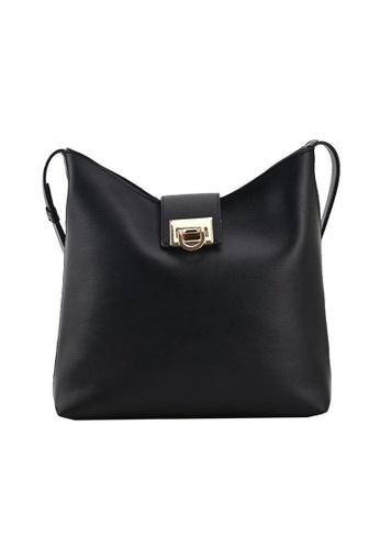 Lara black Women's Plain PU Leather Shoulder Bag - Black B7DB9AC0615B7FGS_1