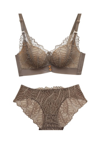ZITIQUE brown Women's Newest 3/4 Cup Breathable Comfortable Non-wired Seamless Push Up Lace Lingerie Set (Bra And Underwear) - Brown 57D9BUS453F62FGS_1