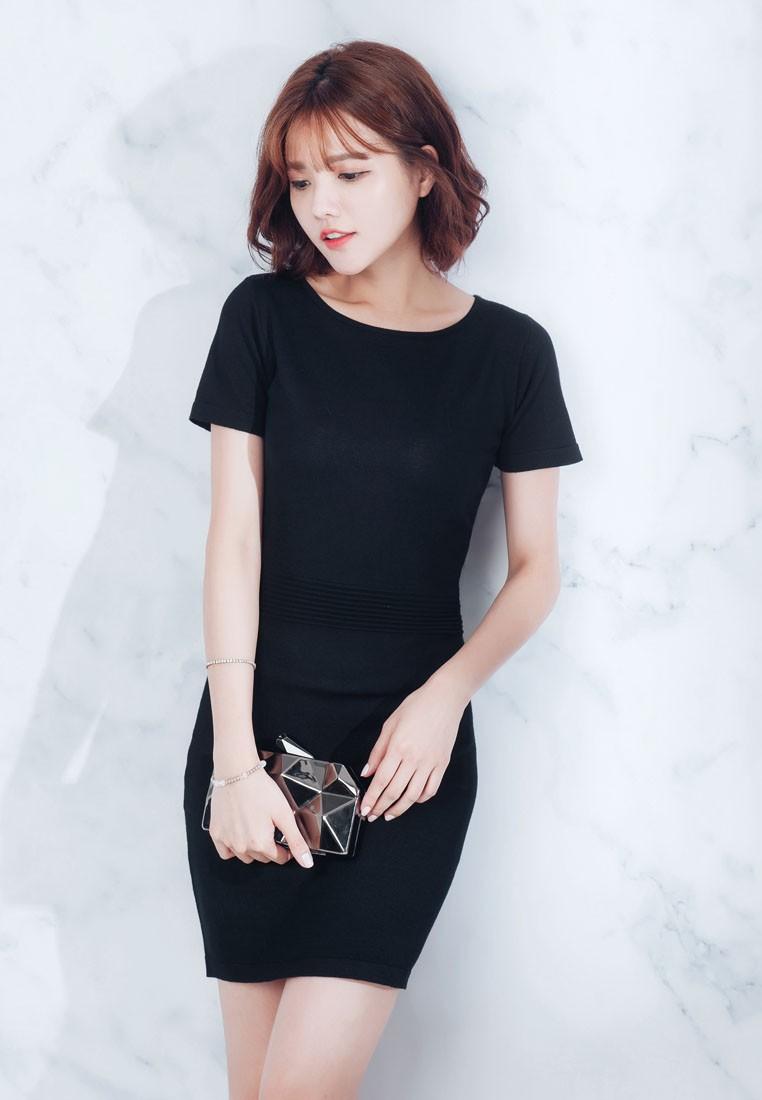 Waisted Knit Dress-Black