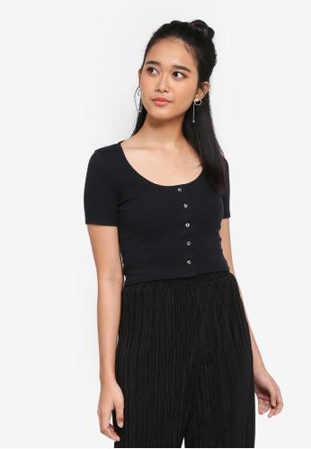 TOPSHOP black Short Sleeve Horn Button Crop T-Shirt 0364DAAE02CE8BGS_1