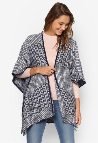 zalora 台灣門市提花針織毯罩衫, 服飾, 外套