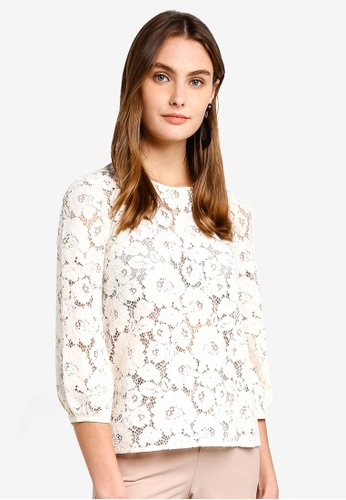 French Connection white Emma Lace Long Sleeve Top DEA77AAAB5EB5AGS_1