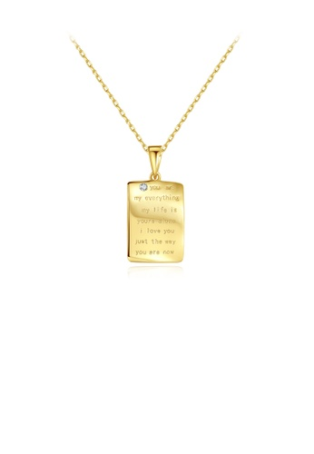 Glamorousky white 925 Sterling Silver Plated Gold Simple and Personalized Geometric Rectangular Pendant with Cubic Zirconia and Necklace A36F0AC098B7CCGS_1