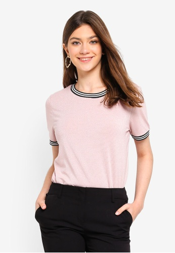 Pieces pink Sarah Short Sleeve Tee A583FAA7D3F76AGS_1