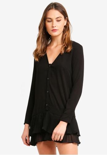 MISSGUIDED black Pleated Hem Ls Shift Dress A3E51AA6E67995GS_1
