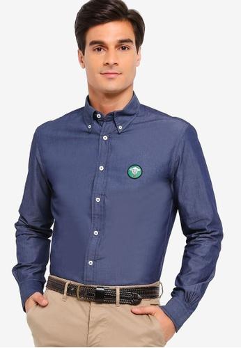 Brooks Brothers blue Red Fleece Indigo Chest Patch Sport Shirt 74596AA239B5DDGS_1
