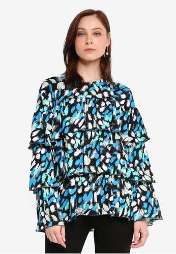 Zariya blue Ruffled Blouse E81E4AA8A44168GS_1