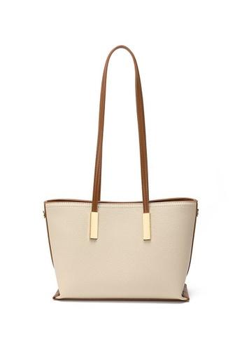 Lara beige Women's Elegant Plain PU Leather Zipper Tote Bag Shoulder Bag - Beige 91029ACCC672EAGS_1