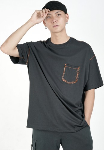 Muzca black MUZCA POCKET ZIGZAG T-SHIRT BLACK 1EEA6AA19527D7GS_1