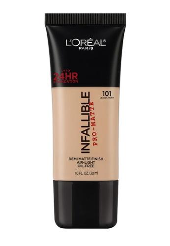 L'Oréal Paris brown L'Oreal Paris Infallible Pro-Matte Liquid Foundation - 101 Classic Ivory 3E663BEC7DD7ABGS_1