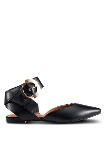 ZALORA 黑色 Buckle D'Orsay 平底鞋 199F3SH9153548GS_1