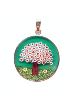 Millefiori Glass Pendant - Green Tree 26mm, Silver