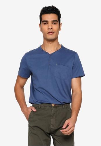 BLEND blue Relaxed V-Neck T-Shirt 86D13AAE274F51GS_1