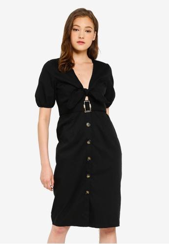 467505ed1fa5 Buy Boohoo Tie Front Blouson Sleeve Button Midi Dress | ZALORA HK