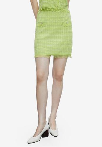 Urban Revivo 綠色 抽鬚針織裙 0EBE8AAF503A92GS_1