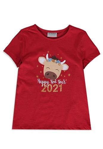 LC Waikiki red New Year Themed Cotton T-Shirt 47C88KA64C5DABGS_1
