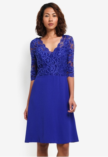 Wallis blue Blue Lace Fit And Flare Dress F1BB9AAAE9B2FDGS_1