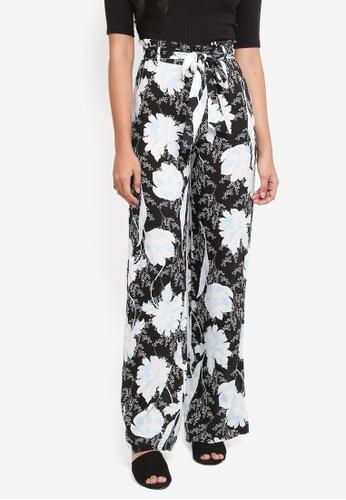 Miss Selfridge black Oriental Prnt Wide Leg Trousers 0141CAA028BD95GS_1
