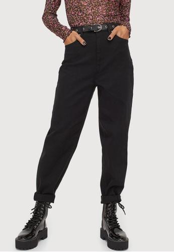 H&M black Hi-waist Mom Twill Trousers DE973AAA65C787GS_1