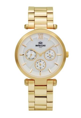 Roscani gold Roscani Coco B45 (Multifunction + WR 5ATM) Gold White Bracelet Women Watch FEDACAC464454CGS_1