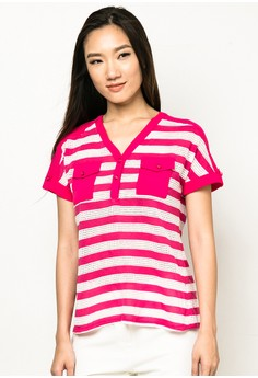 Short-Sleeve Striped Blouse