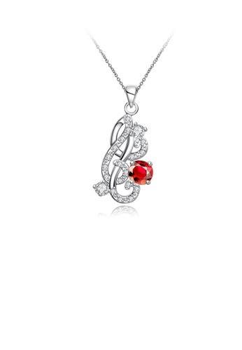 Glamorousky white Fashion and Elegant Carved Pendant with Red Cubic Zircon and Necklace E6C61AC818E464GS_1