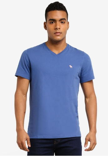 Abercrombie & Fitch blue Single Icon V-Neck T-Shirt EE2BFAAEF5BC3FGS_1