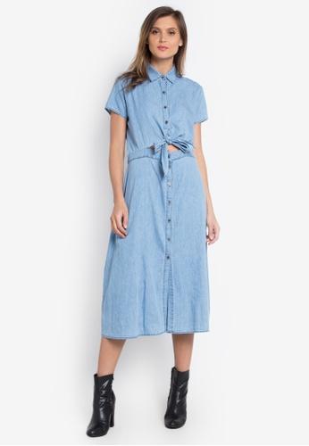 Genevieve Gozum blue Tie Me Up Sexy Shirt Dress GE060AA0KAQUPH_1