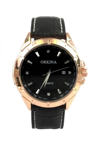 Chronomart black Orkina Men's Rose Gold Case Rhinestone Dial Leather Strap Fashion Wrist Watch CH783AC48IFJPH_1