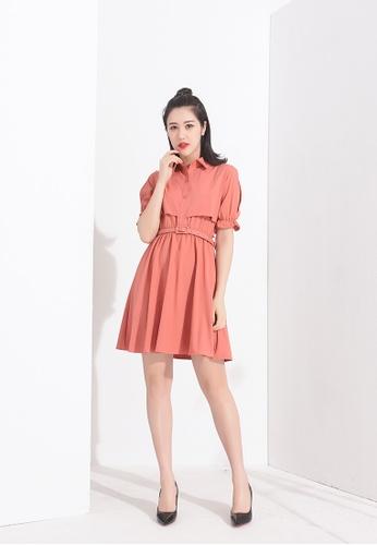 Zafiti brown Lapel Short Sleeves Dress E680FAA4CD8422GS_1
