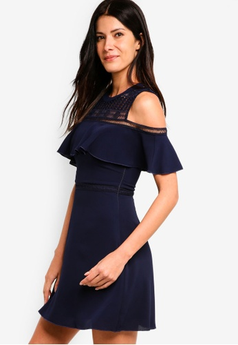 ZALORA navy Cold Shoulder Fit And Flare Dress 61EACAA3769C22GS_1