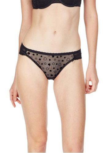 6IXTY8IGHT black Azizi Solid, Mesh Bikini Brief PT10085 2F0B3US66AAEFDGS_1