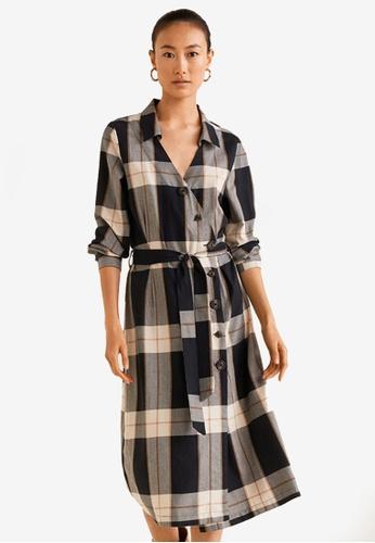 Mango black Buttoned Check Dress 5EF78AAE4AEBF5GS_1